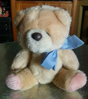 Forever Friends Vintage Small Jointed Plush Teddy with Blue Bow - Item No. 167