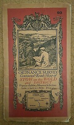 Stow-on-the-Wold One Inch Popular Edition Ordnance Survey Map Sheet 93