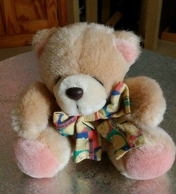 Forever Friends Vintage Small Sitting Plush Teddy Bear wearing Patterened Bow