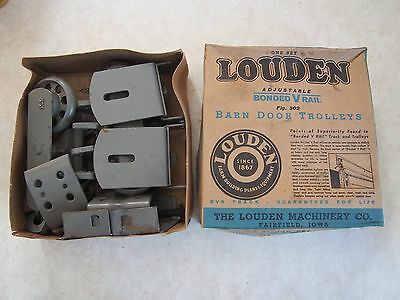 NOS NIB Antique Louden Farm Barn Door Trolley rail Hanger Roller Track Hardware