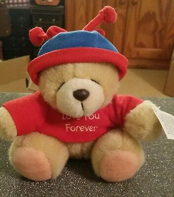 Forever Friends Small Sitting Teddy Bear Wearing Red Jumper & Blue & Red Hat