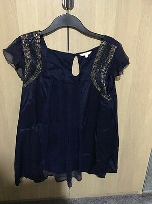 Navy Maternity Top Gold Embellishment Cap Sleeves Size 20 Mamas & Papas