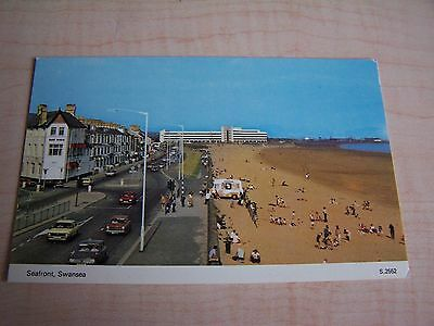 Vintage RP Postcard Seafront Swansea Ice Cream Van Glamorgan South Wales