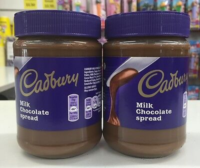 2 x 400G JARS OF CADBURY MILK CHOCOLATE SPREAD - MADE IN BELGIUM - YUMMY