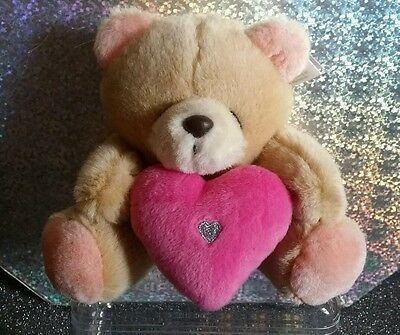 Forever Friends Small Plush Teddy Bear Holding Pink Love Heart, With Tags