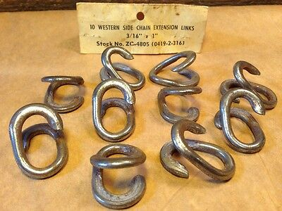 """10 Western Side Chain Extension Open Links 3/16"""" Metal 1"""" Long Nice! New!"""