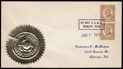 4th Regt. USMC ~ Shanghai, China ~ 1939 New Year's Day cvr w embossed gold seal.