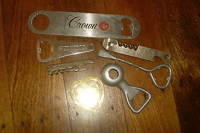 Lot of 6 Vintage Retro Collectable Beer Bottle Openers -Crown -Guinness etc.