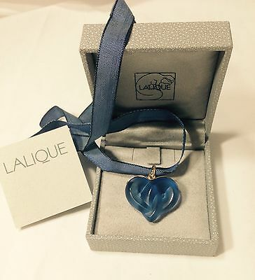 Lalique Sapphire Blue Entwined Heart Crystal Pendant Necklace