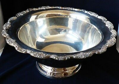 Vtg El Grandee By Towle Silverplate Large Punch Bowl Scroll Floral Border Edge