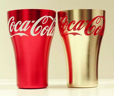 Rare China Coca Cola Red & Glod Aluminum Cups Commemorative Set