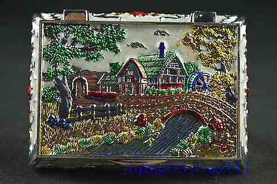 Chinese antique cloisonne carve tree and house noble royal jewel box