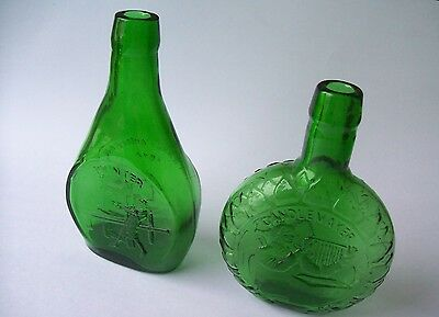 """1974 & 75 Clevenger Bros Green Bottles """"The Early American Society"""""""