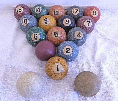 Antique Speckled Agate Pool Ball Set Snooker Carom Billards Vintage