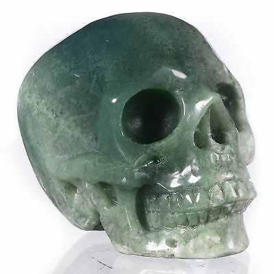 """2.95""""Natural Green Moss Agate Hand Carved Smiling Skull,Crystal Healing#22F56"""