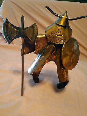 MEDIEVAL Viking Warrior Copper Art Figure Old Military War