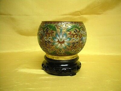 Antique Japanese Chinese Champleve Cloisonne Vase Bowl & Wood Stand Export Old
