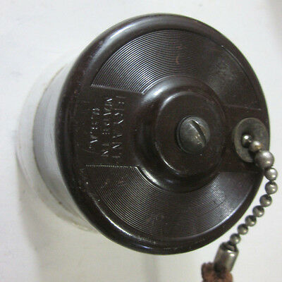 Antique Bryant ceiling wall pull cord chain switch porcelain brown bakelite 10A