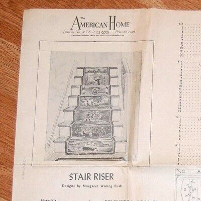 1945 HOOK RUG PATTERN Instruction Transfers COLONIAL AMERICA STAIR RISER Hooked