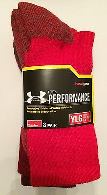 NWT Under Armour Youth UA Performance Crew Red/AST Socks 3 Pair YLG Shoe Sz 1-4