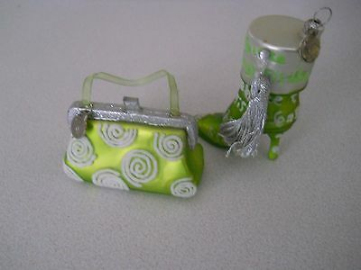 Dept. 56 Green Glass White Flocked Silver Purse & Boot Christmas Ornaments