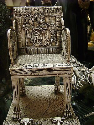Vintage Egyptian King Tut Chair  Hand Carved  1971 Made In Egypt