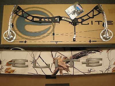 "ELITE SYNERGY Archery Hunting Bow 27½"" to 31"" Right Hand 60# to 70# Black + Snow"