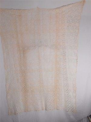 "IRISH Beige Cotton Crochet Lace Decor Rectangular tablecloth 52"" X 60"" 20th c."