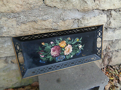Vintage Signed Tin Hand Painted Tinware-Rosemaled Tray w/Hanger-Toleware