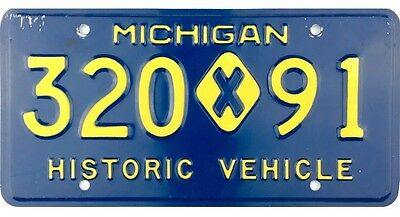 1984-1987 Michigan HISTORICAL VEHICLE License Plate #320-91 No Reserve