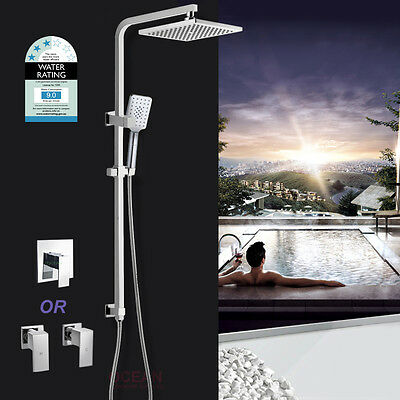 WELS 2 IN 1 Square 8'' Shower Head Handheld Sliding Rail Wall Arm Mixer Tap Set