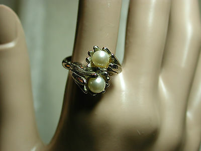 Vintage Vogue silver tone floral bypass ring SZ 9 PRETTY! j54p78