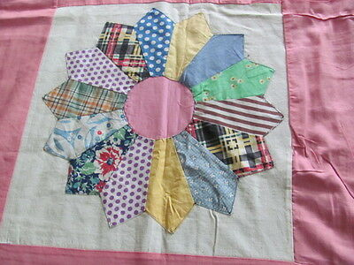 Vintage 1940's era cotton Sunflower quilt top with pink