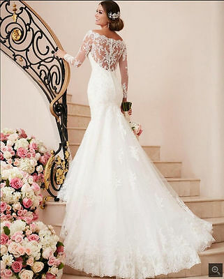 Hot White ivory Lace Wedding dress Bridal Gown custom size 4 6 8 10 12 14 16 18+