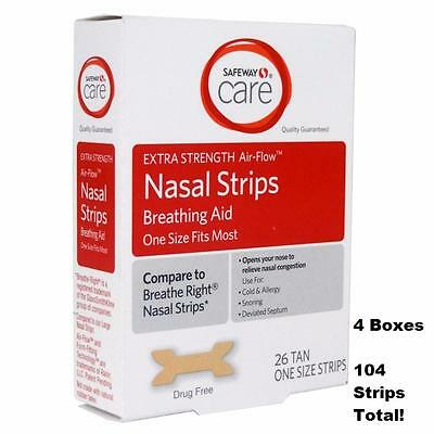 Safeway (LESS $-Breathe Right) Nasal Strips Extra Strength-104 Ct. Tan-USA Made