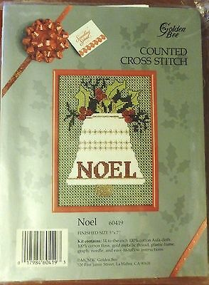 Vintage Christmas Counted Cross Stitch Kit, Bell Noel, Golden Bee Needlepoint
