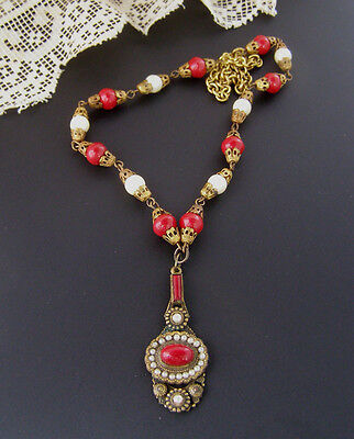 Vintage Artisan Red White Glass Brass Czech Lavalier Necklace Seed Pearl