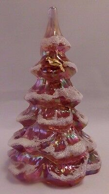 Fenton Art Glass:1980s Pink Iridescent-Frosted Christmas Tree