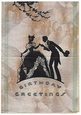 Lady in Gown & Gentleman in Top Hat - Art Deco Silhouette Style Birthday Card