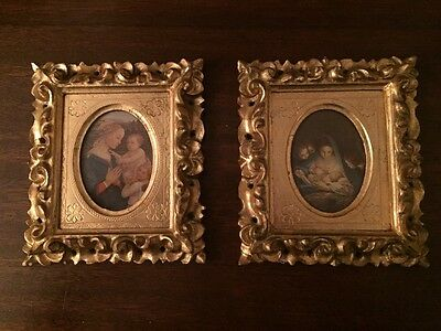 Pair Gilt GOLD Wood Frame Madonna Prints Italy Decorative Crafts Inc Florentine
