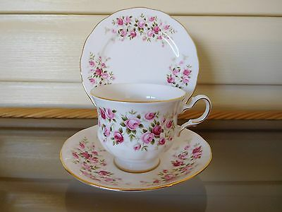 """Vintage Queen Anne """"Cascade Roses"""" Trio 8636 Made In England Mint Condition"""