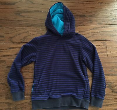 Mini Boden Boy Fleece Pullover Hoodie Blue And Black Stripes Size 9/10