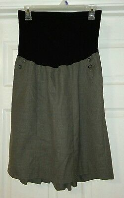 MOTHERHOOD MATERNITY Gray Maternity Skirt with Pleats Full Belly Band Size Large