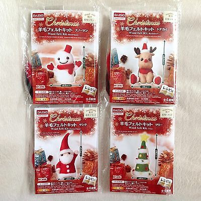 DAISO Japan Christmas Wool Felting Kit Complete 4 Piece Set • Fast Airmail
