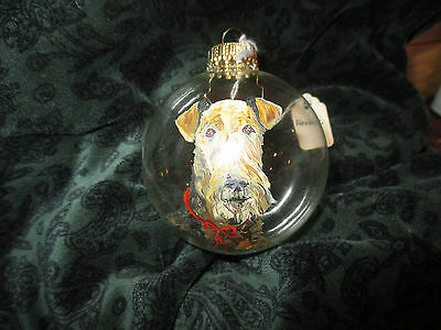 Airedale  Dog - Hand Painted Glass Christmas Ornament Red ribbon