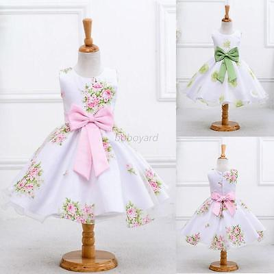 Baby Kids Girl Sleeveless Floral Princess Dress Party Pageant Wedding Tutu Dress