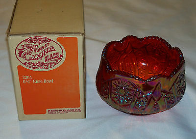 Vintage!  Indiana Glass - Red Carnival Glass Hobstar & Arches - Rose Bowl Nib