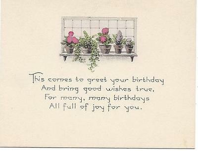 Potted Flowers on a Window Sill - Art Deco Birthday Card