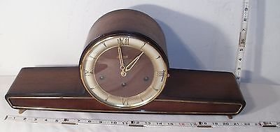 Hermle Of Germany Westminster Chiming Mid Century Wood Mantel Clock Sharp!