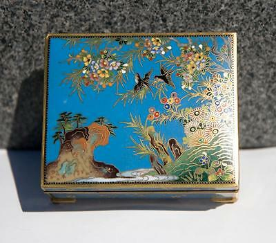 Antique Japanese Cloisonne Box with Birds  Inaba Logo as center of bottom Design